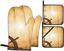 Oven Gloves And Pot Holders Set Ships Wheel Decor