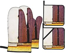 Oven Gloves And Pot Holders Set Shutters Decor