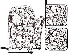 Oven Gloves And Pot Holders Set Skull Decorations