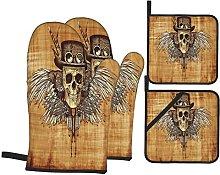 Oven Gloves And Pot Holders Set Skulls Decorations