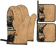 Oven Gloves And Pot Holders Set Steam Engine