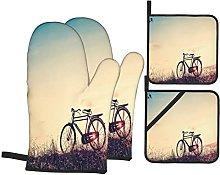 Oven Gloves And Pot Holders Set Vintage Bike Decor
