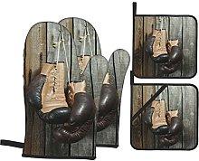 Oven Gloves And Pot Holders Set Vintage Decor