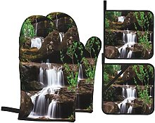 Oven Gloves And Pot Holders Set Waterfall Decor