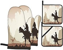 Oven Gloves And Pot Holders Set Western Cowboy