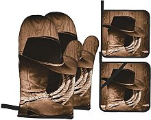 Oven Gloves And Pot Holders Set Western Decor Wild