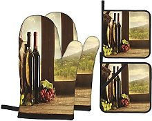 Oven Gloves And Pot Holders Set Winery Decor