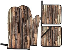 Oven Gloves And Pot Holders Set Wooden Brown Old