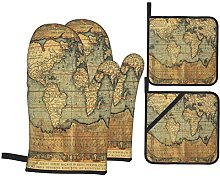 Oven Gloves And Pot Holders Set World Map Ancient