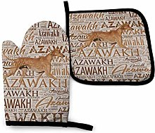 Oven Gloves and Pot Holders Sets,Azawakh Brown Art