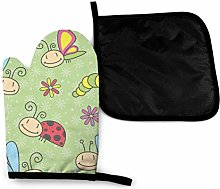 Oven Gloves and Pot Holders Sets,Bee Cartoon