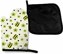 Oven Gloves and Pot Holders Sets,Bee Fuuny Green