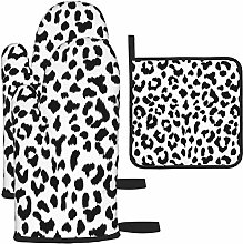 Oven Gloves and Pot Holders Sets,Black and White