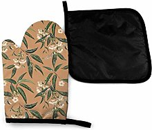 Oven Gloves and Pot Holders Sets,Brown Plant