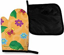 Oven Gloves and Pot Holders Sets,Butterfly Art