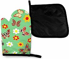 Oven Gloves and Pot Holders Sets,Butterfly Green