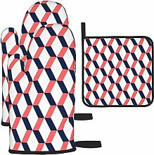 Oven Gloves and Pot Holders Sets,Coral and Navy
