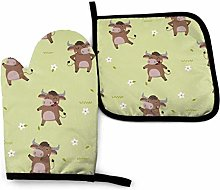 Oven Gloves and Pot Holders Sets,Cute Brown Bull
