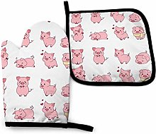 Oven Gloves and Pot Holders Sets,Cute Pink Piggy