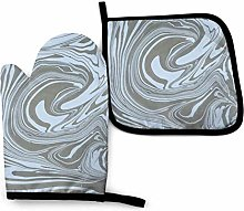 Oven Gloves and Pot Holders Sets,Cyan Gray Marble