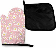 Oven Gloves and Pot Holders Sets,Daisies Pink
