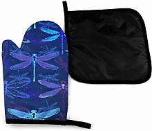 Oven Gloves and Pot Holders Sets,Dragonfly Dark