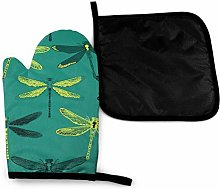Oven Gloves and Pot Holders Sets,Dragonfly