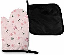 Oven Gloves and Pot Holders Sets,Dragonfly Pink