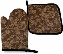 Oven Gloves and Pot Holders Sets Flower Brown