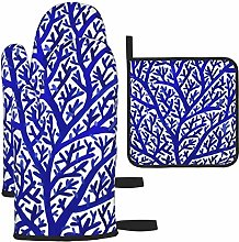 Oven Gloves and Pot Holders Sets,Fun Coral
