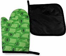 Oven Gloves and Pot Holders Sets,Funny Green Money