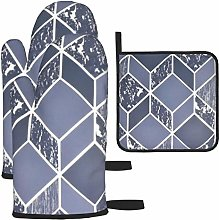 Oven Gloves and Pot Holders Sets,Geo Navy