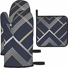 Oven Gloves and Pot Holders Sets,Geometric