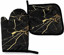 Oven Gloves and Pot Holders Sets Gold and Black