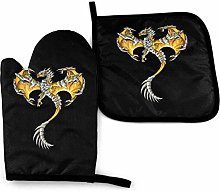 Oven Gloves and Pot Holders Sets Gold Dragon