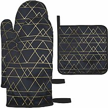Oven Gloves and Pot Holders Sets,Gold Navy