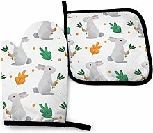 Oven Gloves and Pot Holders Sets,Gray Rabbit