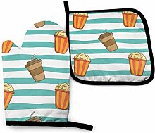 Oven Gloves and Pot Holders Sets,Green and White