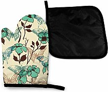 Oven Gloves and Pot Holders Sets,Green Art