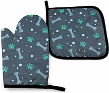Oven Gloves and Pot Holders Sets,Green Dogs Paw
