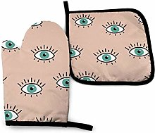 Oven Gloves and Pot Holders Sets,Green Eyes with