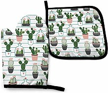 Oven Gloves and Pot Holders Sets,Green Stripe Line
