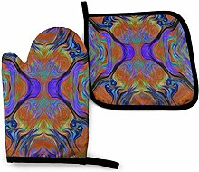 Oven Gloves and Pot Holders Sets Lava LAMP Purple