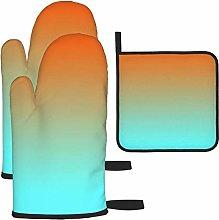 Oven Gloves and Pot Holders Sets,Light Aqua Orange
