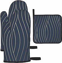 Oven Gloves and Pot Holders Sets,Motion Geo Wave