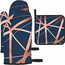 Oven Gloves and Pot Holders Sets,Navy and Copper