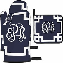 Oven Gloves and Pot Holders Sets,Navy and White