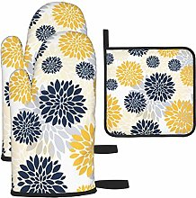 Oven Gloves and Pot Holders Sets,Navy Blue Gold
