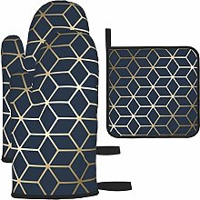 Oven Gloves and Pot Holders Sets,Navy Blue