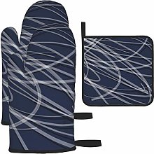 Oven Gloves and Pot Holders Sets,Navy Blue Gray